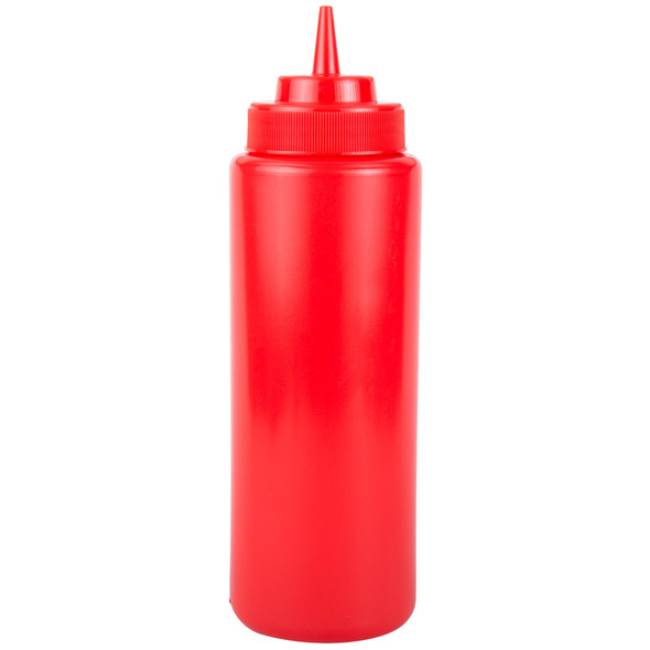 32 oz Plastic Wide Mouth Squeeze Bottles - Red (PLTHSB032RW)