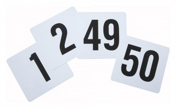 """Thunder Group PLN4050 4"""" x 4"""" Plastic Table Number 1-50 Cards"""