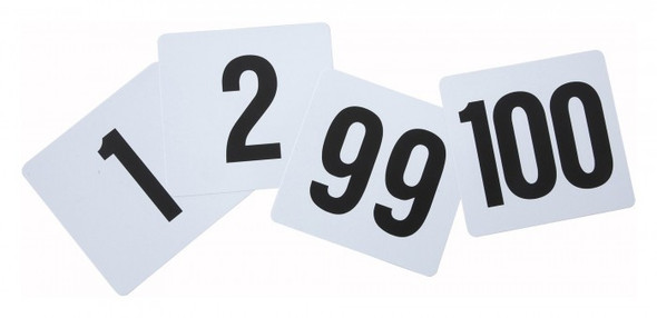 """Thunder Group PLN4100 4"""" x 4"""" Plastic Table Number 1-100 Cards"""