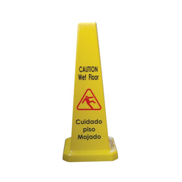 "27"" Caution Wet Floor Cone-Shaped Sign (PLWFC027)"