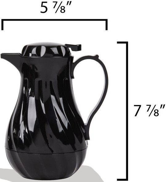 Thunder Group Black 20 oz Swirl Thermal Insulated Coffee Carafe/Server (PLWS020BK)