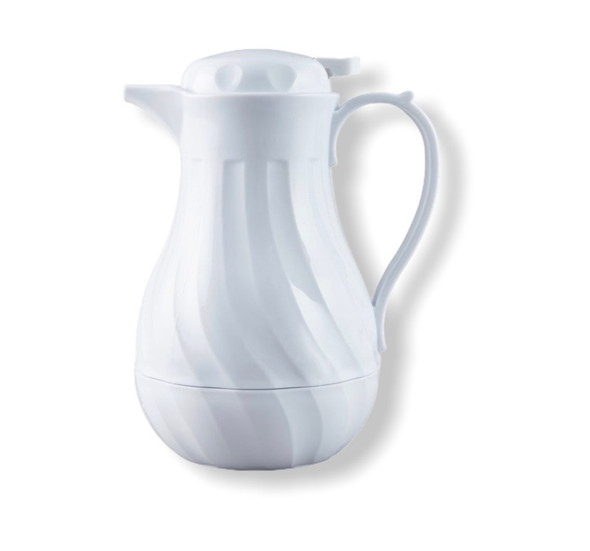 64 oz White Swirl Thermal Insulated Coffee Carafe/Server (PLWS064)