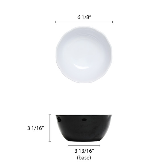 "Thunder Group Black Pearl, 36 oz Melamine 6.5"" Bowl (RF5065BW)"