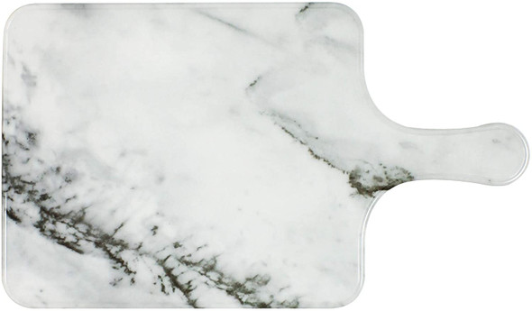"""Thunder Group SB608W 8.5"""" x 7"""" White Shadow Faux Marble Melamine Serving Board with Handle"""