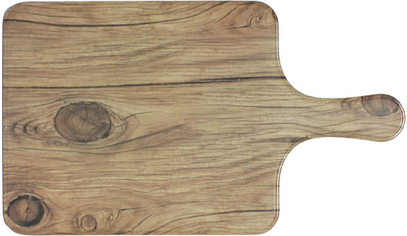 """Thunder Group SB608S 8.5"""" x 7"""" Sequoia Faux Wood Melamine Serving Board with Handle"""