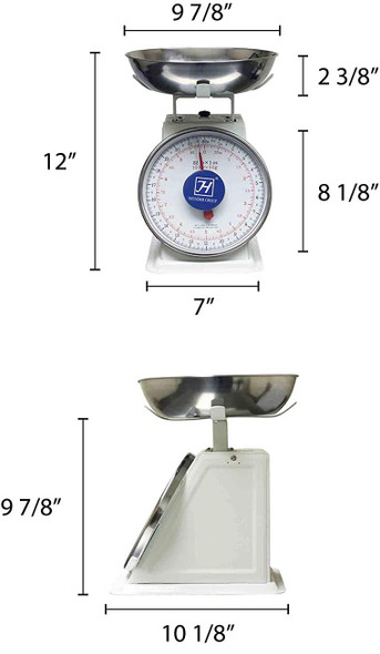 Thunder Group SCSL104 22lb Mechanical Dial Portion Control Scale w/ Removable Stainless Steel Bowl