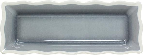 "Thunder Group SD3318H Graham 17.5"" x 6.75"" Rectangular Gray Melamine Tray with Ivory Waved Edge"