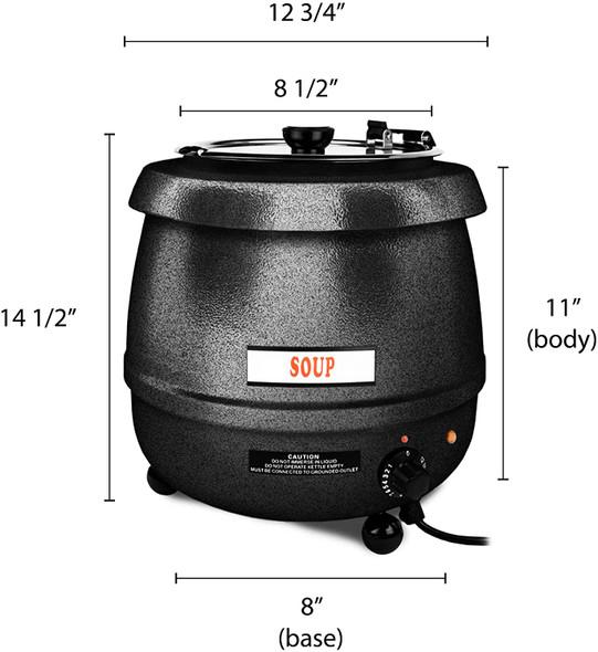 Thunder Group SEJ30000C 10.5 Qt Black Countertop Food/Soup Kettle Warmer