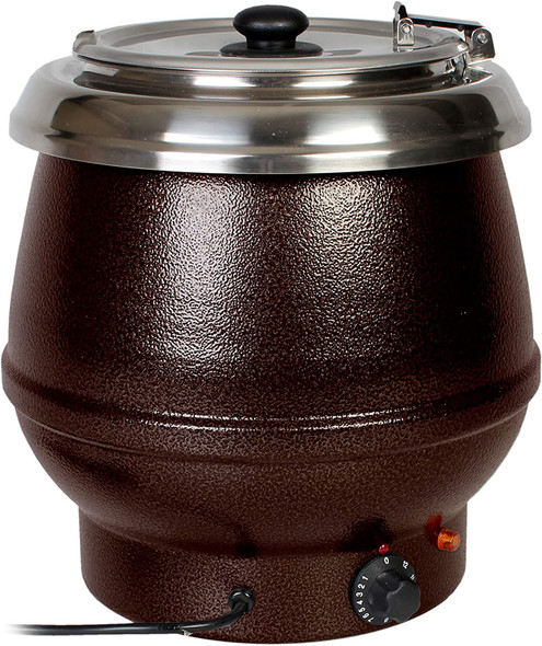Thunder Group SEJ32000TW 10.5 Qt Brown Countertop Food/Soup Kettle Warmer (Made In Taiwan)
