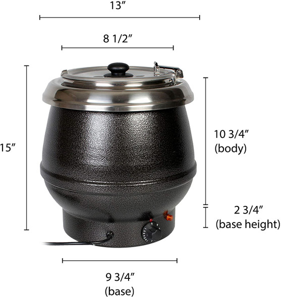 Thunder Group SEJ30000TW 10.5 Qt Black Countertop Food/Soup Kettle Warmer (Made In Taiwan)