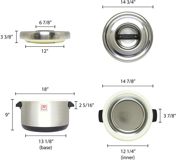 Thunder Group SEJ72000 40 Cup Stainless Steel Insulated Sushi Rice Pot
