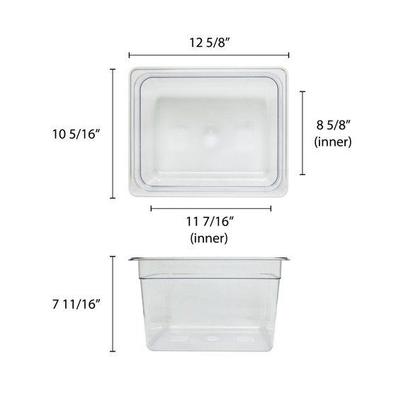 "PLPA8128, Half Size Clear Polycarbonate Food Pan - 8"" Deep"