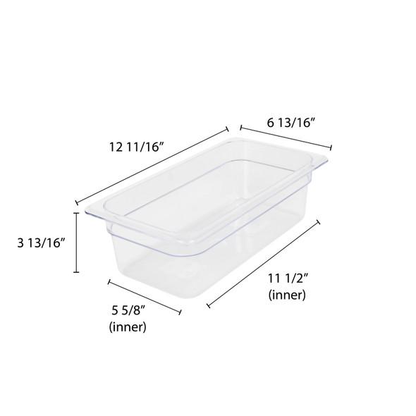 "Third Size Clear Polycarbonate Food Pan - 4"" Deep (PLPA8134)"