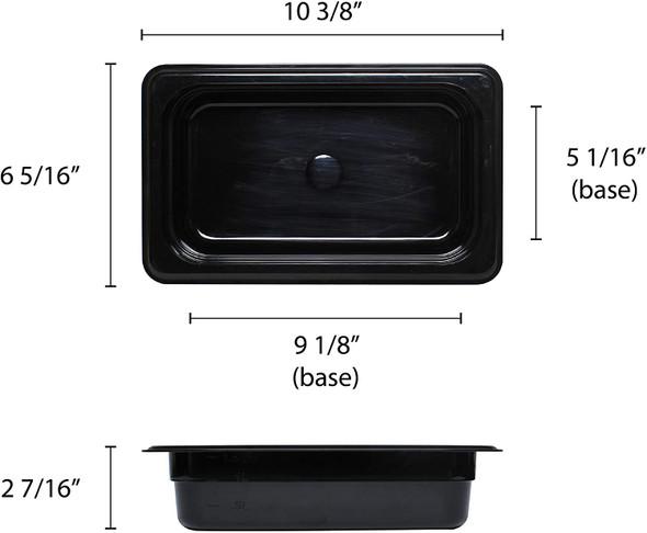 "Quarter Size Black Polycarbonate Food Pan - 2.5"" Deep (PLPA8142BK)"