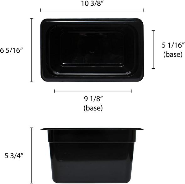 "Quarter Size Polycarbonate Black Food Pan - 6"" Deep (PLPA8146BK)"