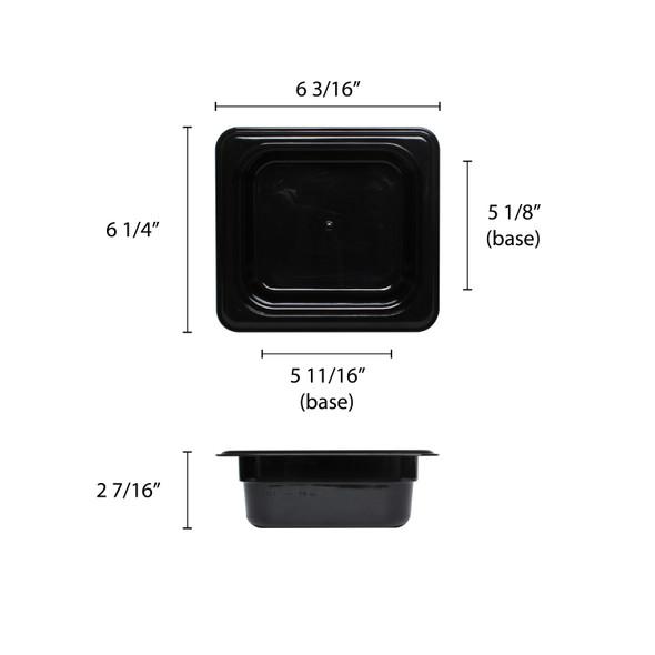 """Sixth Size Polycarbonate Black Food Pan - 2.5"""" Deep (PLPA8162BK)"""