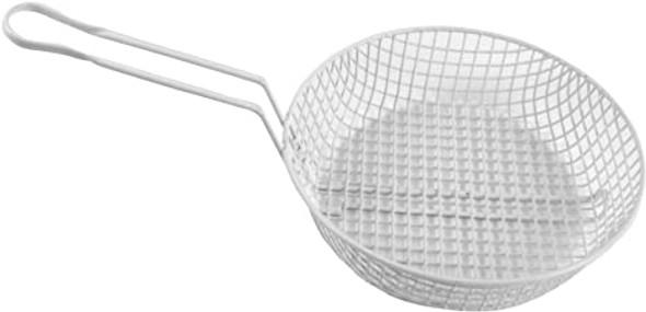 "10"" White Epoxy Coated Coarse Mesh Breading Baskets (PLBB010C)"