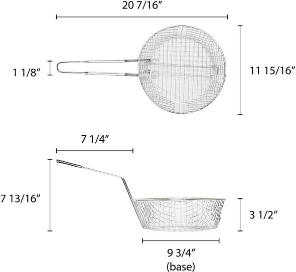 "12"" Round Nickel Plated Coarse Mesh Culinary Basket (SLCB012C)"