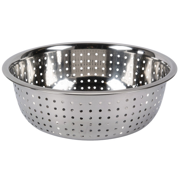 """11"""" Round 5.5 qt Stainless Steel Chinese Colander (SLCIL11L) - Large Hole"""