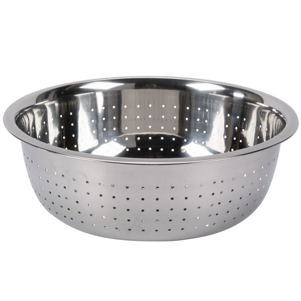 """11"""" Round 5.5 qt Stainless Steel Chinese Colander (SLCIL11S) - Small Hole"""