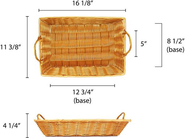 """16"""" x 11"""" x 3"""" Rectangular Woven Basket w/ Handles"""