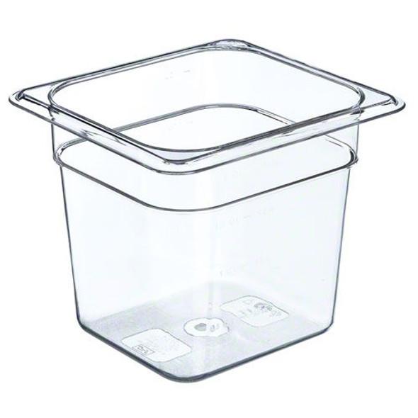 "Sixth Size Polycarbonate Clear Food Pan - 6"" Deep (PLPA8166)"