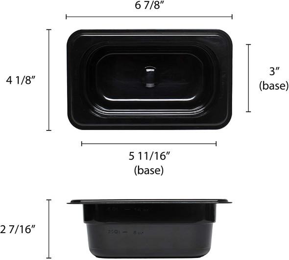 """Ninth Size Black Polycarbonate Food Pan - 2.5"""" Deep (PLPA8192BK)"""