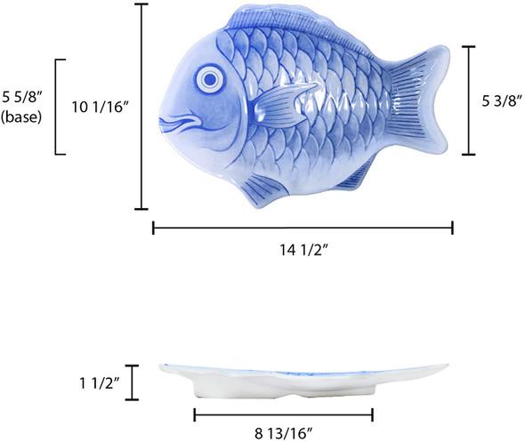 "14"" Blue Melamine Fish Shaped Platter (1400CFB)"