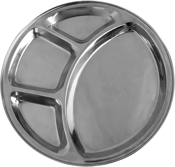 """12.5"""" Stainless Steel Round 4 Compartment Tray (SLCRT004)"""
