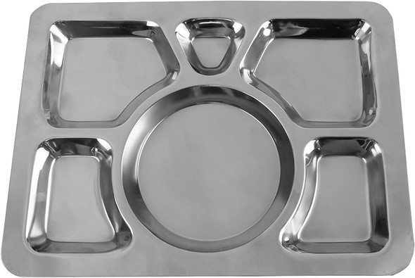 """15.5"""" x 11.5"""" Stainless Steel Rectangular 6 Compartment Tray (SLCST006)"""