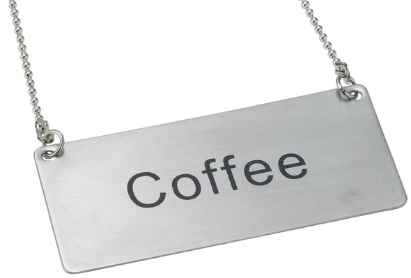 """Stainless Steel Beverage Chain Signs Name Plate - """"Coffee"""" (SLCS3174)"""