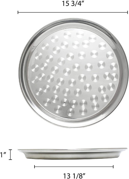 """16"""" Round Stainless Steel Narrow Rim Serving Tray (SLCT316)"""