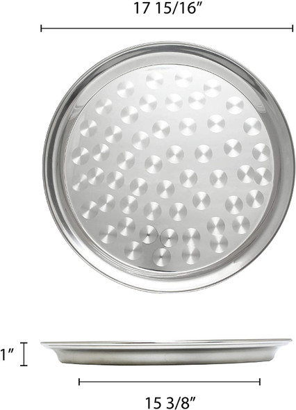 """18"""" Round Stainless Steel Narrow Rim Serving Tray (SLCT318)"""