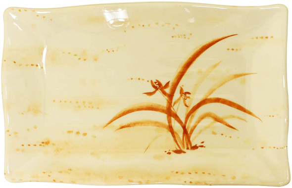 "Thunder Group 2416 Gold Orchid 15 1/2"" x 10 3/4"" Rectangular Melamine Wave Plate"