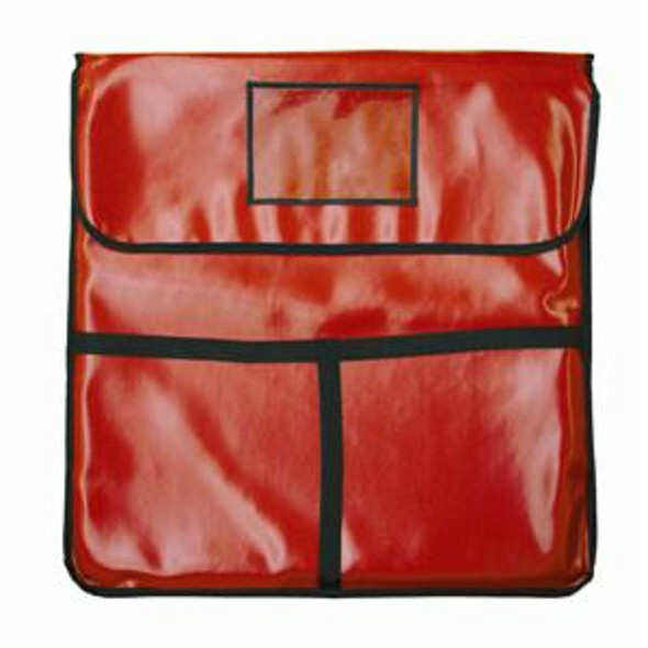 """18"""" x 18"""" x 5"""" Red Nylon Insulated Pizza Delivery Bag"""