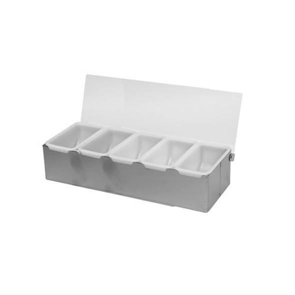5 Condiment Organizer w/ Lid & Plastic Inserts (SLCN005)