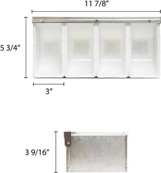 4 Condiment Organizer w/ Lid & Plastic Inserts (SLCN004)
