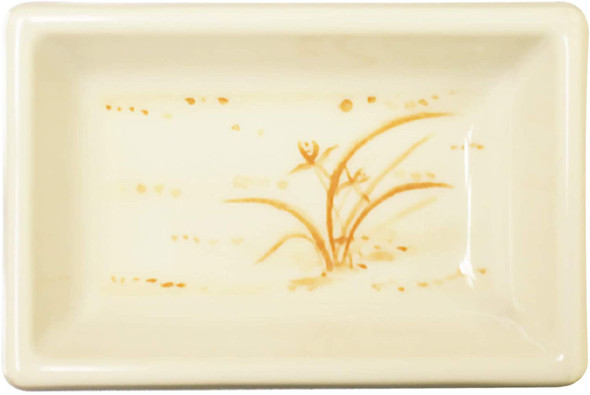Thunder Group 1901GD Gold Orchid 2 oz. Rectangular Melamine Sauce Dish