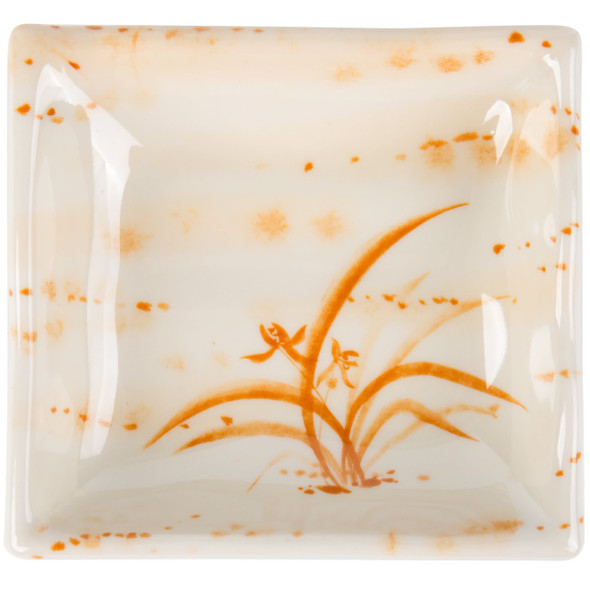 Thunder Group 2404 Gold Orchid 3 oz Square Melamine Wave Sauce Dish