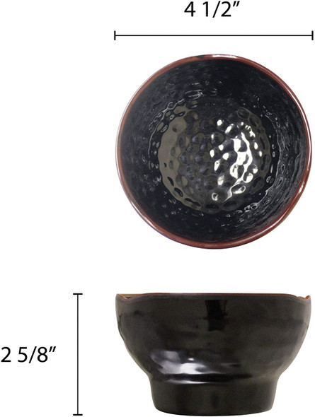 Thunder Group 3704TM Tenmoku Black 10 oz Round Melamine Wave Rice Bowl
