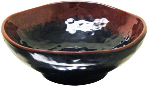 Thunder Group 3705TM Tenmoku Black 7 oz. Round Melamine Wave Rice Bowl