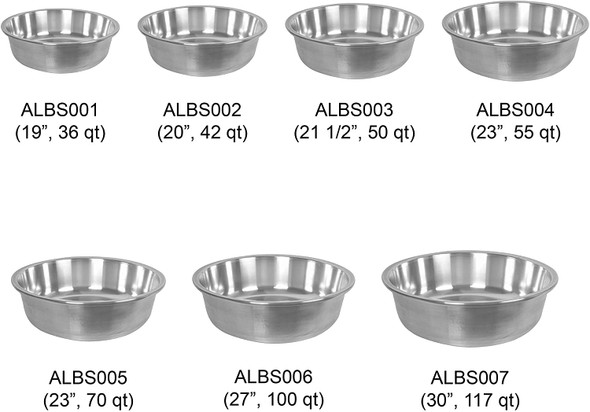 Aluminum Tapered Edge Basin, Sizes, Capacities