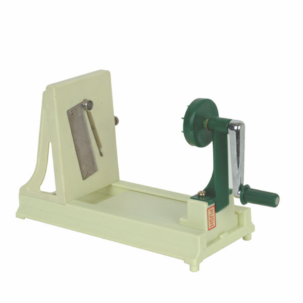 The Manual Spiral Vegetable Slicer/Noodler is made of durable plastic and stainless steel for quality and precision. This slicer is a great addition to any kitchen, deli, restaurant, hotel, or catering operation. Liven up your dishes with beautiful, fresh garnishes using this turning vegetable slicer.