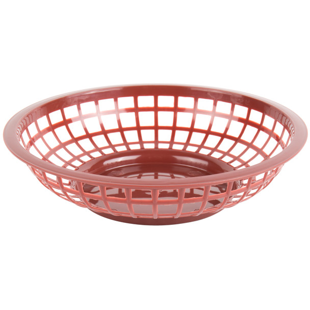 "PLBK008B Brown  8"" x 2"" Round Plastic Fast Food Basket"