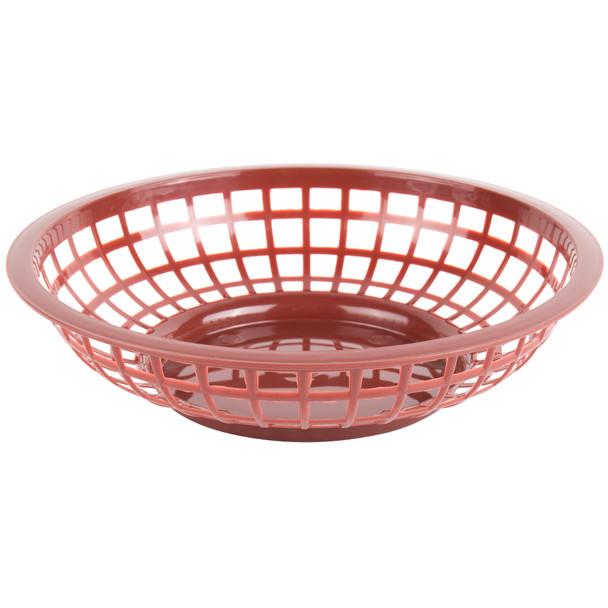 "PLBK008B Brown  8"" x 2"" Round Plastic Fast Food Basket"
