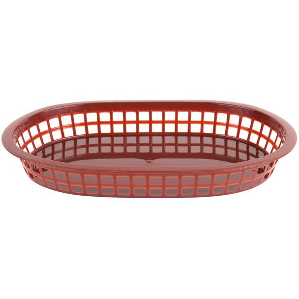 """PLBK1034B Brown 11"""" x 7"""" Oblong Plastic Fast Food Basket"""