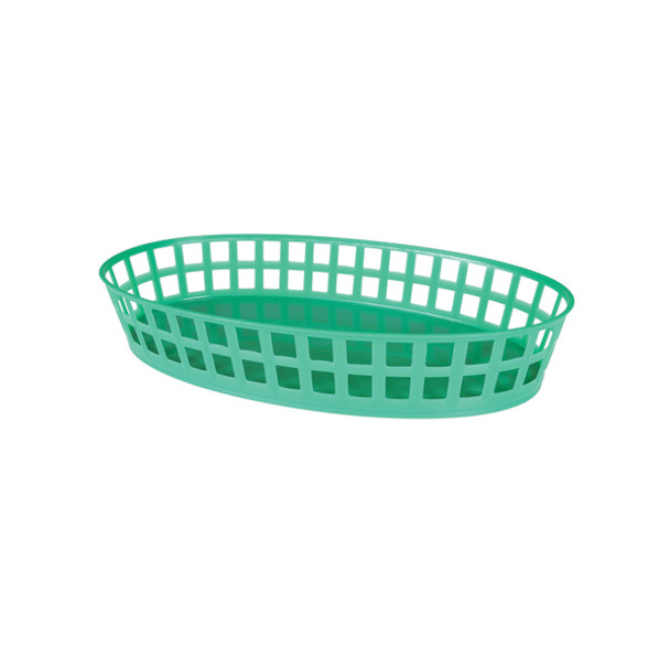 "PLBK912G Green 8"" x 5"" Oval Plastic Fast Food Basket"