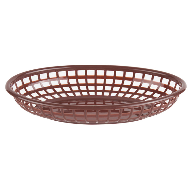 "PLBK938B Brown 9.38"" x 5.75"" Oval Plastic Fast Food Basket"