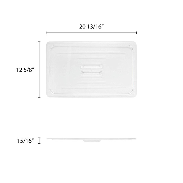 Full Size Solid Clear Polycarbonate Food Pan Lid