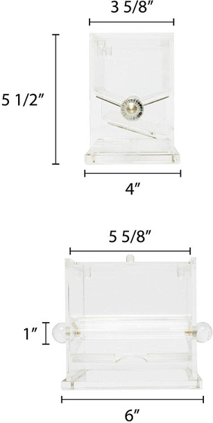 "Acrylic Stirrer Dispenser (PLSD001) Dispenser utilizes a simply turn-style mechanism for one-at-a-time dispensing that cuts down on waste. The unit is designed for use with stirrers up to 5"" in length."